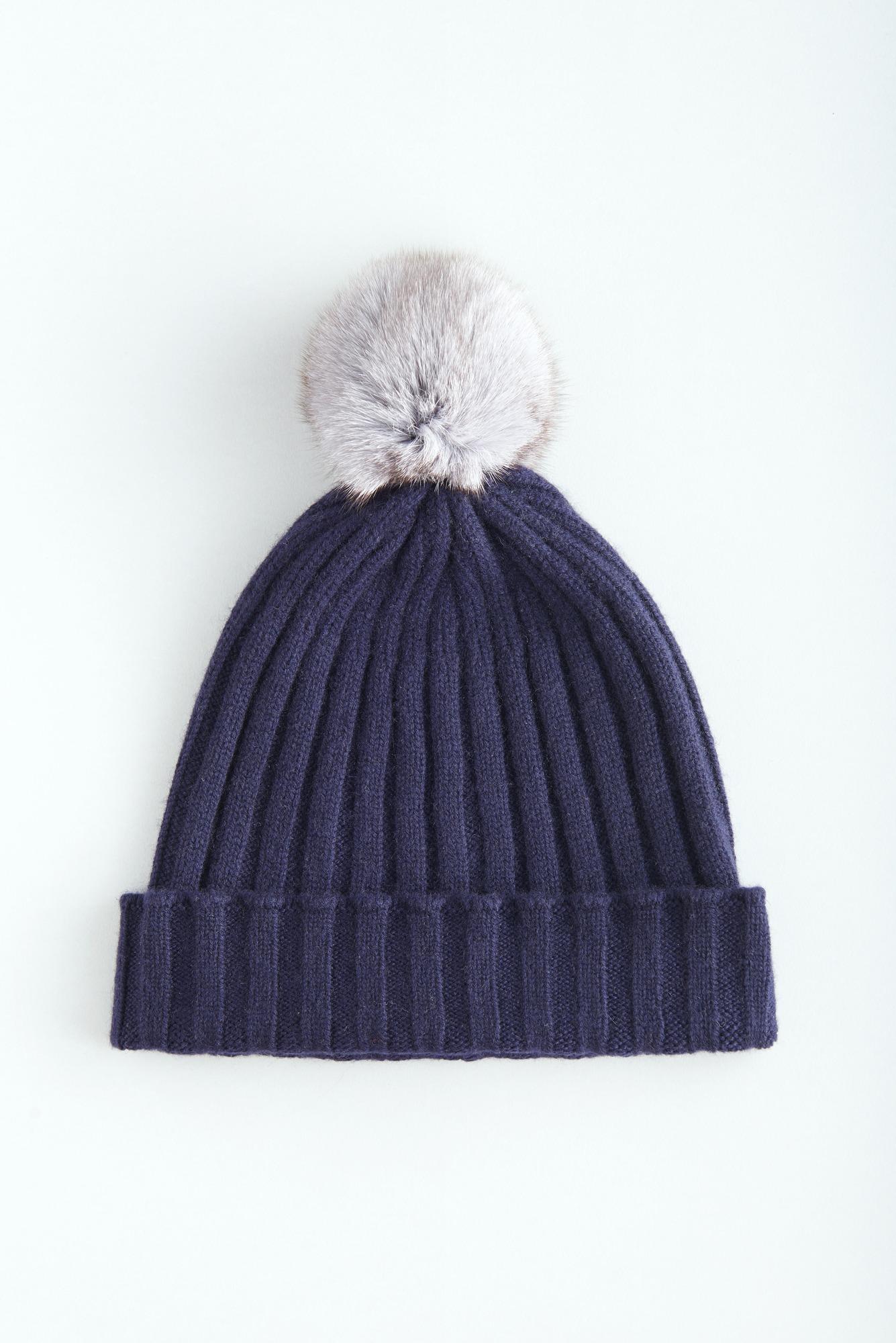 Кашемировая шапка с помпоном