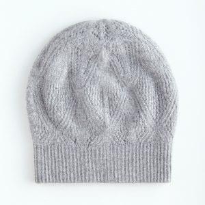 Объемная шапка из серого кашемира