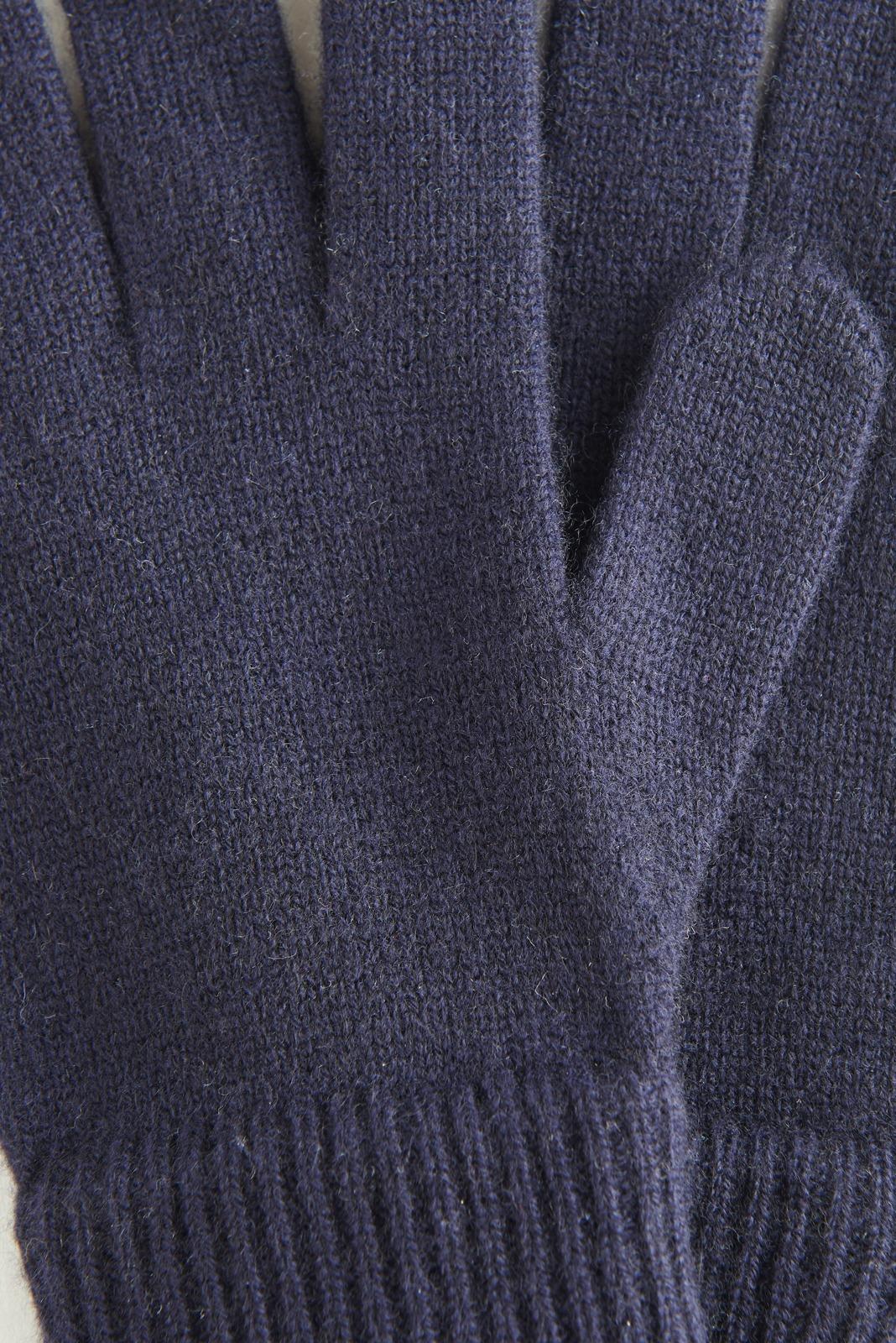 Темно-синие перчатки из кашемира